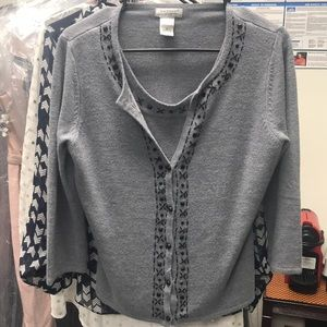 😍KR Signature Gray Beaded Cardigan